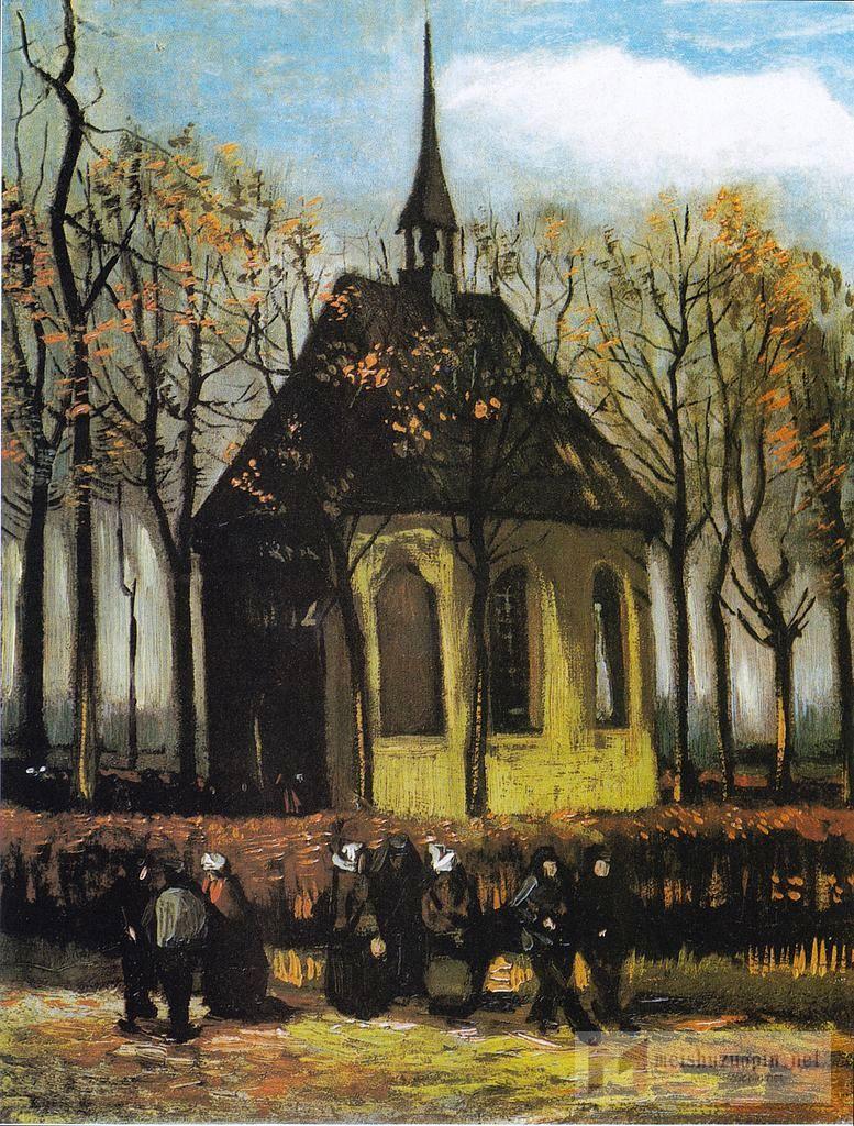 场景油画_纽南教堂的信徒们_The Church of Nuenen with Churchgoers-文森特·梵高