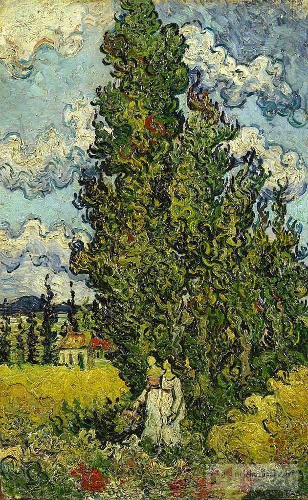 风景油画_柏树和两个女人_Cypresses and Two Women-文森特·梵高