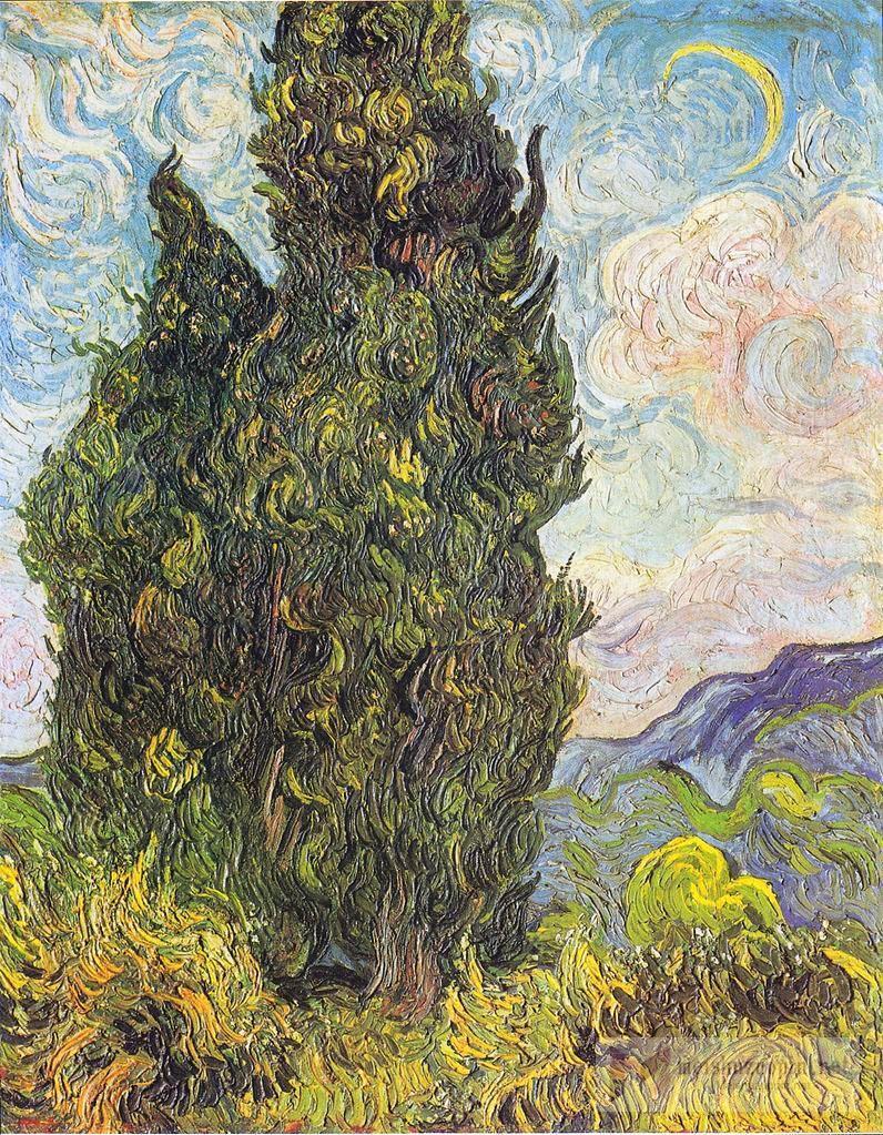 风景油画、速写_柏树_Cypresses-文森特·梵高