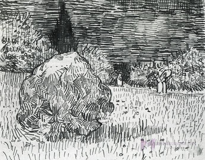 钢笔风景速写_阿尔勒公园里的灌木丛;诗人的花园2_Bush in the Park at Arles; The Poet's Garden II-文森特·梵高