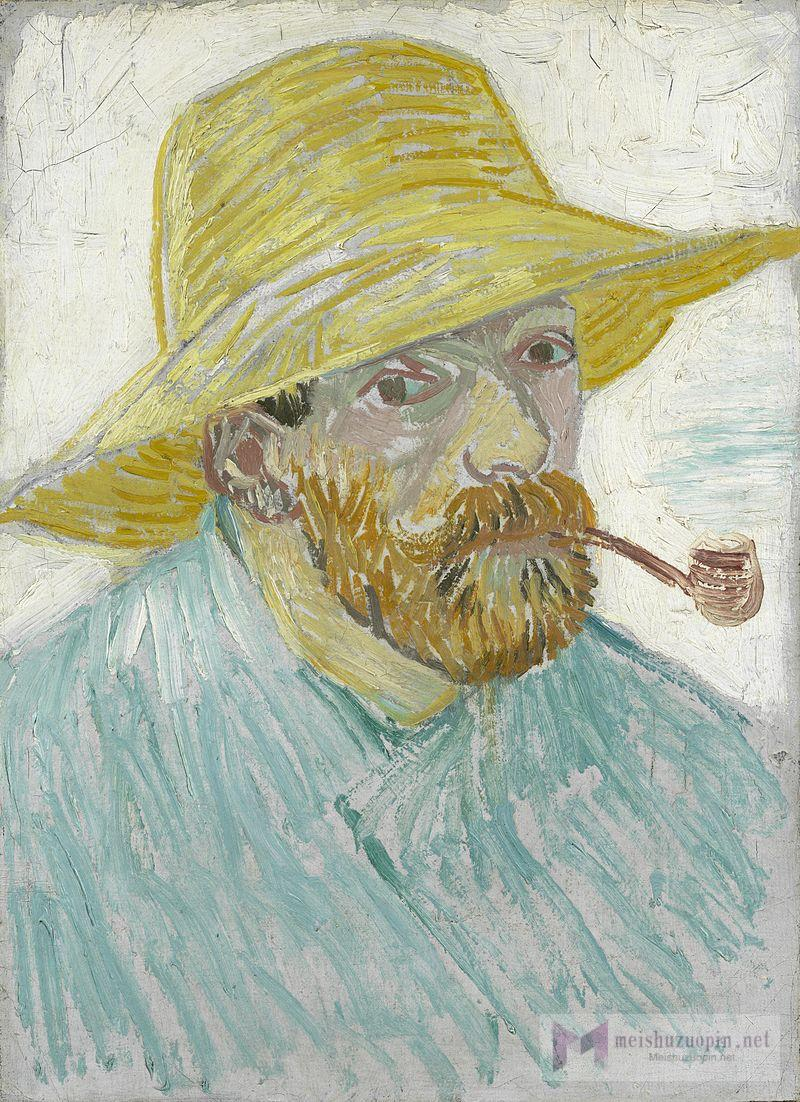 A portrait of Vincent Van Gogh from the left, with a relaxed but intent look, a red beard and wearing a grey hat.
