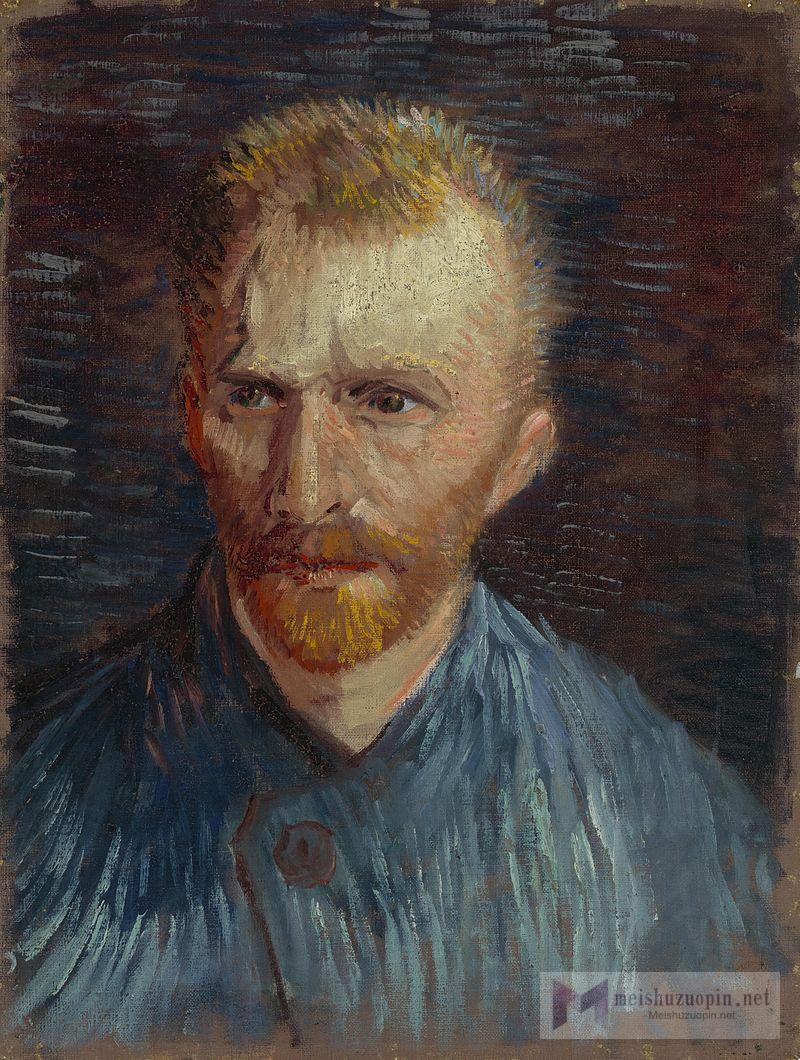 A portrait of Vincent Van Gogh from the left, with a relaxed look, a red beard and wearing a straw hat.