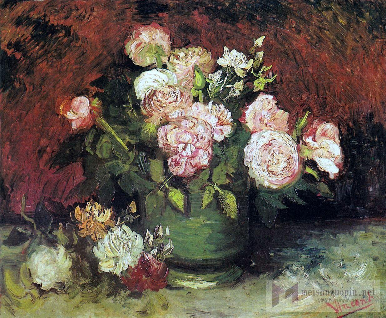油画静物_盆中的牡丹和玫瑰_Bowl with Peonies and Roses-文森特·梵高