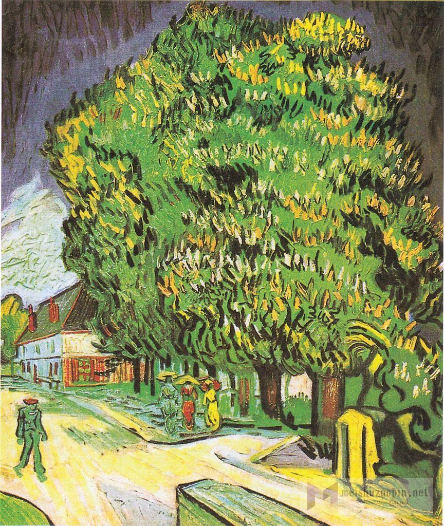 场景油画_盛开的栗子树_Blooming Chestnut Trees-文森特·梵高