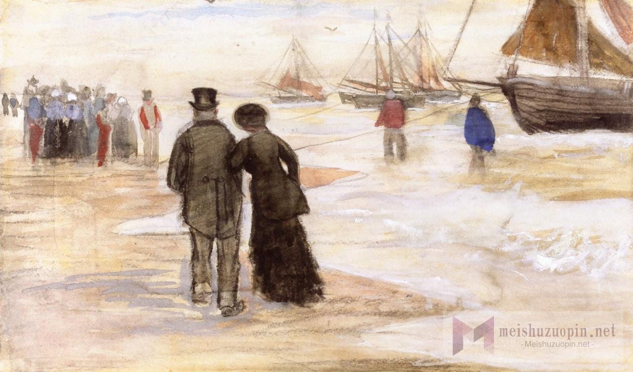 风景油画_斯赫弗宁恩的海滩_The Beach at Scheveningen-文森特·梵高