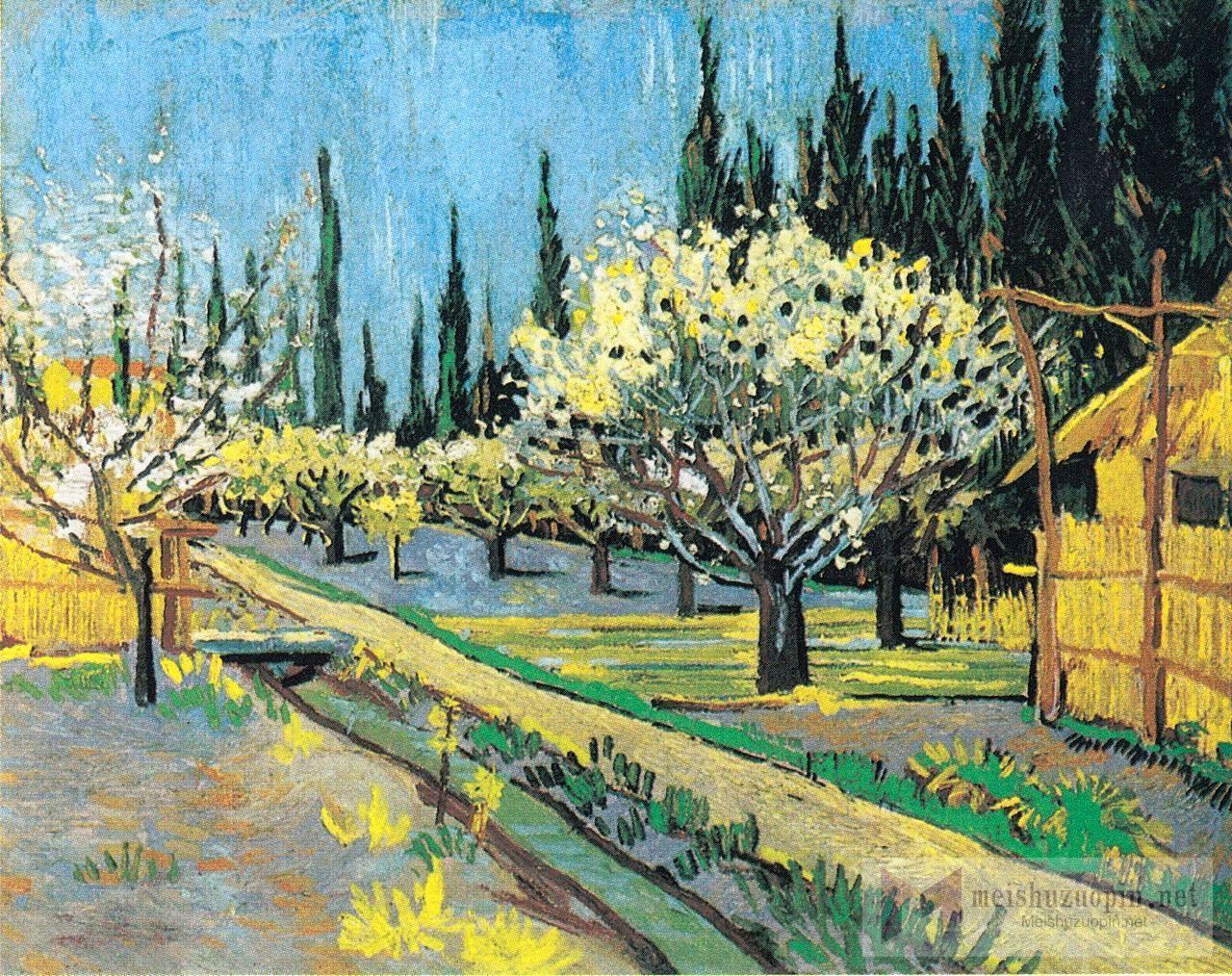 风景油画_果树开花,四周环绕着松树_Flowering Orchard, surrounded by Cypresses-文森特·梵高