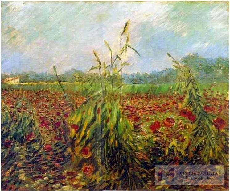 风景油画_绿色的玉米秸秆_Green Corn Stalks-文森特·梵高