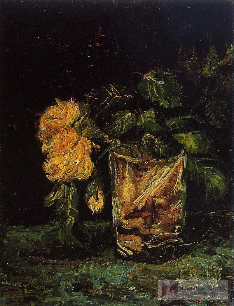油画静物_玻璃杯与玫瑰_Glass with Roses-文森特·梵高