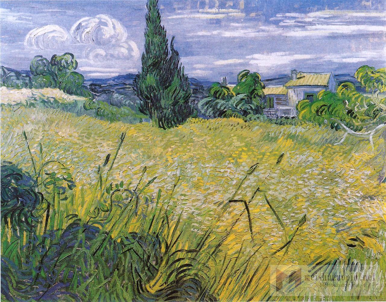 风景油画_绿色麦田与柏树_Green Wheat Field with Cypress