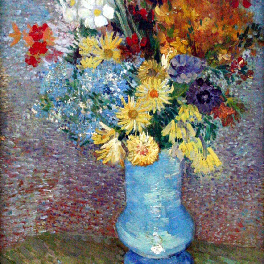 油画静物_蓝色花瓶中的花束_Flowers on a Blue Vase-文森特·梵高