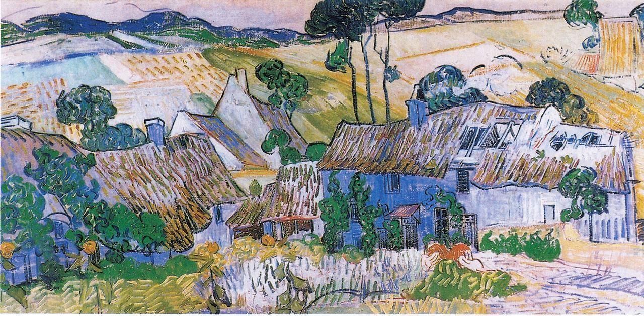 风景油画_奥维尔附近的农场_Farms near Auvers-文森特·梵高
