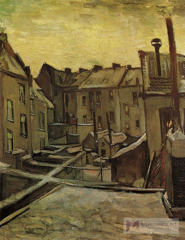 场景油画_从后面看的房子_Houses seen from the Rear-文森特·梵高