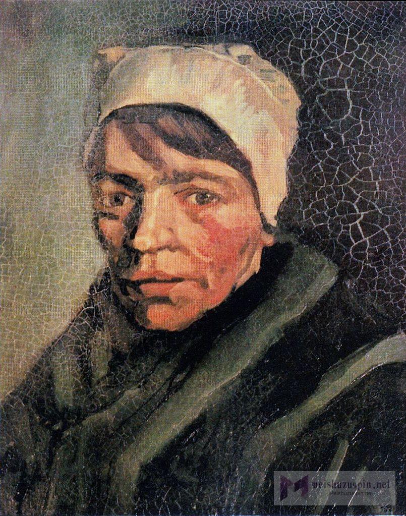 肖像油画_头戴白色帽子的农妇头像_Head of a Peasant Woman with a White Cap-文森特·梵高