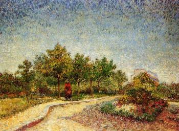 """阿涅尔的沃耶尔-达根森公园(也被称为""""巴黎圣皮埃尔广场"""")_Lane in Voyer-d'Argenson Park at Asnieres(also known as 'Square Saint-Pierre, Paris')-文森特·梵高"""