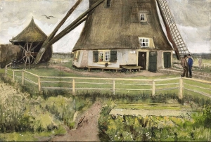 "海牙附近的拉克莫伦(也被称为""风车"")_The Laakmolen near The Hague(also known as 'The Windmill')-文森特·梵高"