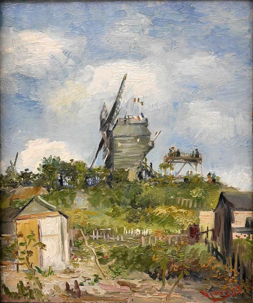 风景油画_蒙马特的磨坊_Le Moulin de la Galette, Montmartre-文森特·梵高