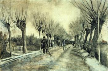 路两旁柳枝残枝,一个人拿着扫帚_Road with Pollarded Willows and a Man with a Broom-文森特·梵高