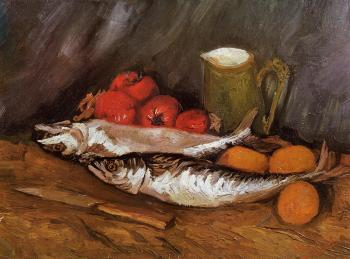 有鲭鱼、柠檬和西红柿的静物_Still Life with Mackerels, Lemons and Tomatoes-文森特·梵高
