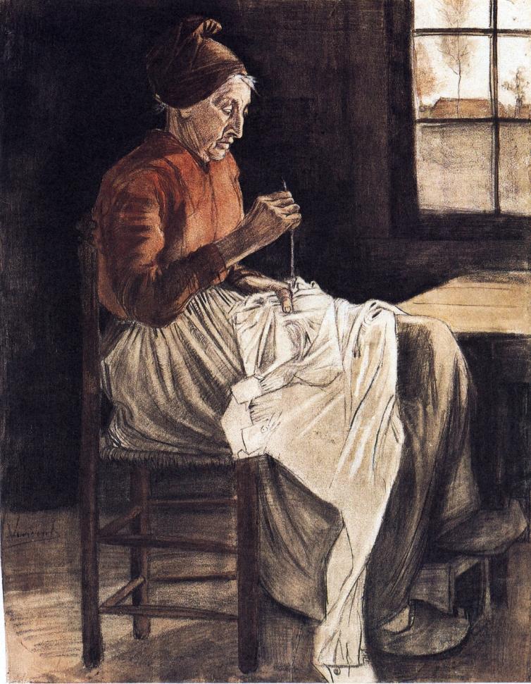 场景人物速写_正在缝纫的女人_Woman Sewing-文森特·梵高