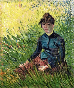 坐在草地上的女人(也被称为麦田里的女人)_Woman Sitting in the Grass(also known as Woman in a Field of Wheat)-文森特·梵高