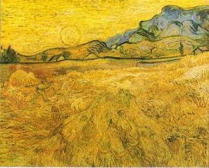"麦田里有收割者和阳光(亦称""收割者围地"")_Wheat Field with Reaper and Sun(also known as 'Enclosed Field with Reaper')-文森特·梵高"