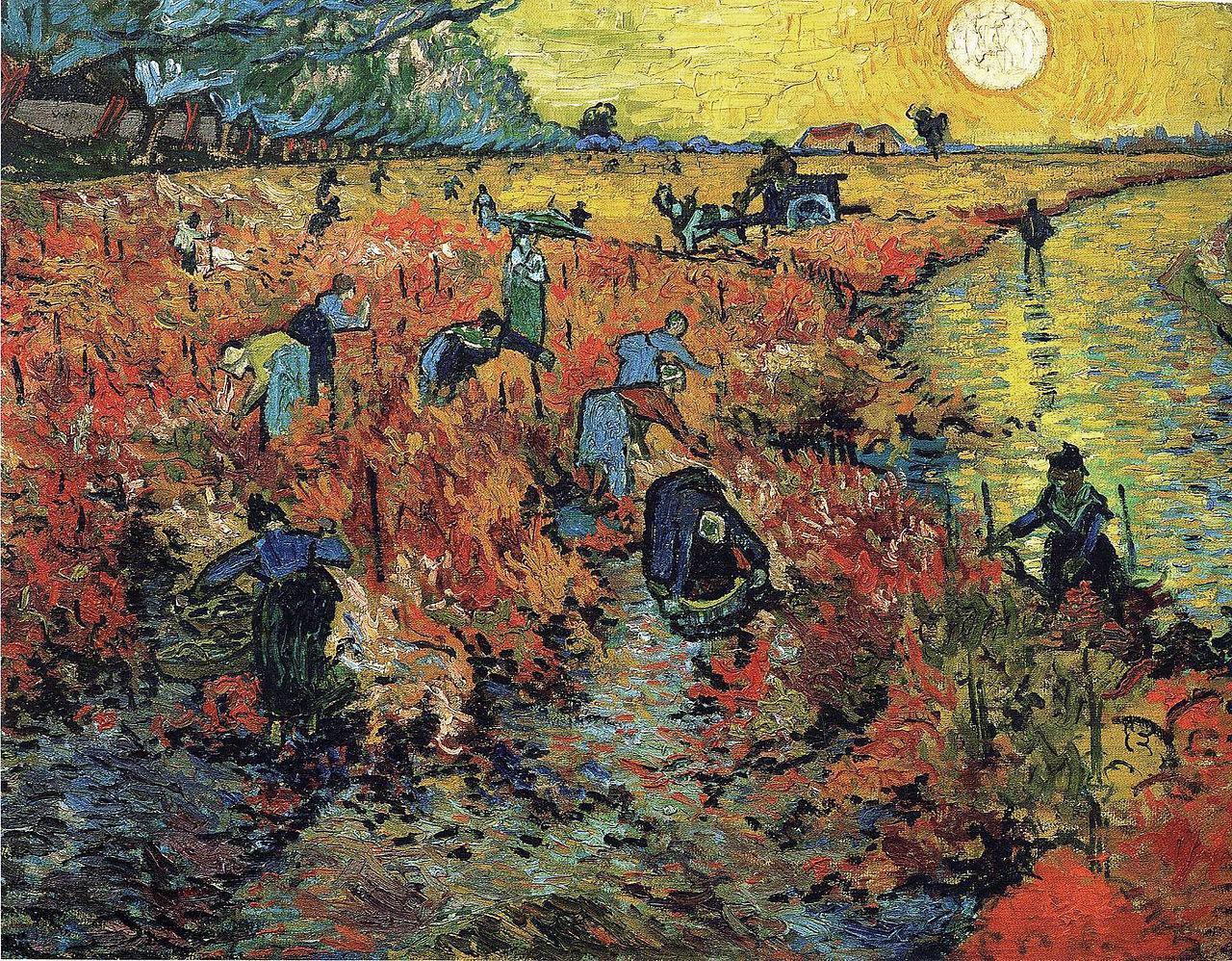 风景人物油画_红色的葡萄园_The Red Vineyard-文森特·梵高