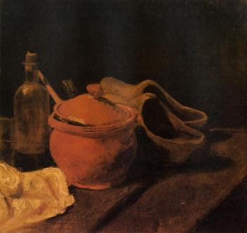 油画静物_有陶器、瓶子和木屐的静物_Still Life with Earthenware, Bottle and Clogs-文森特·梵高