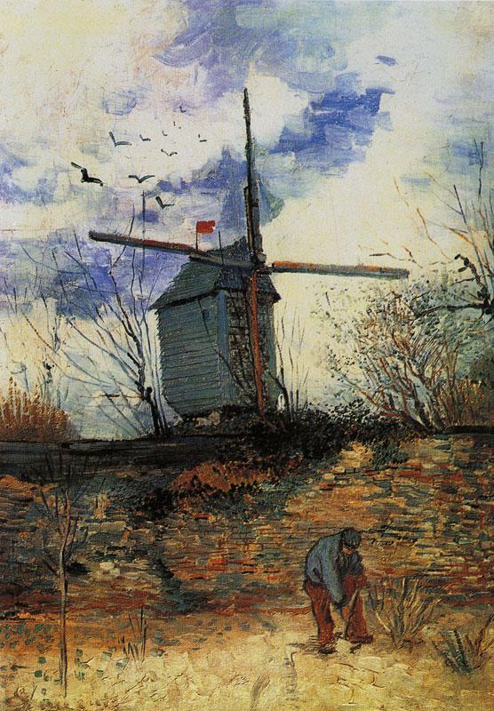 场景人物油画_蒙马特的风车_Windmill on Montmartre-文森特·梵高
