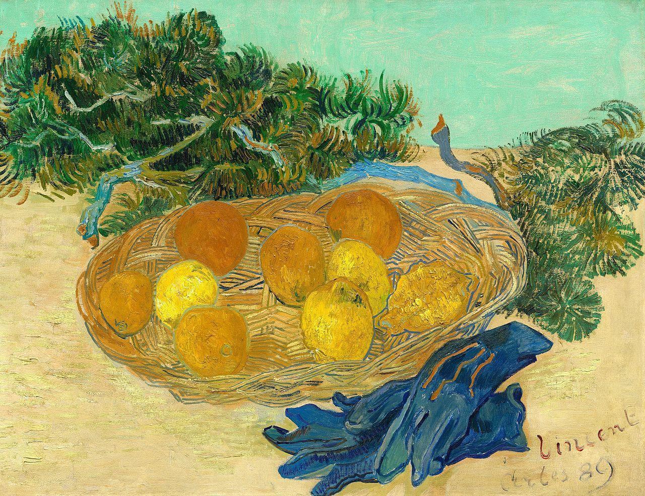 油画静物_橙子、柠檬和蓝色手套静物组合_Still Life with Oranges and Lemons with Blue Gloves-文森特·梵高