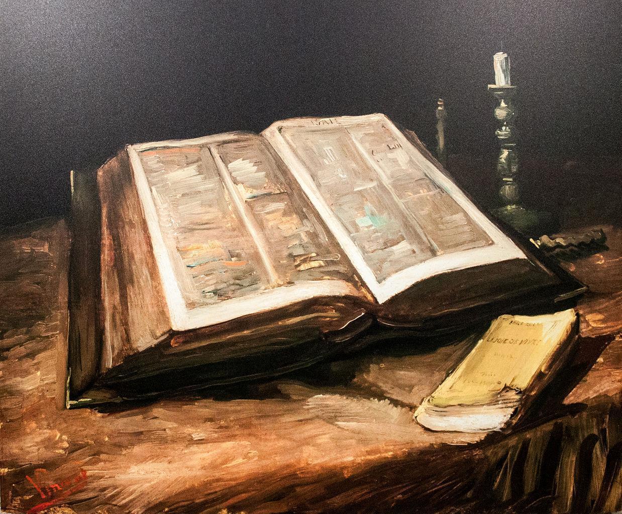油画静物_《圣经》静物画_Still Life with Bible-文森特·梵高