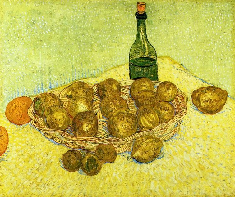 油画静物_瓶子、柠檬和橘子的静物_Still Life with a Bottle, Lemons and Oranges-文森特·梵高