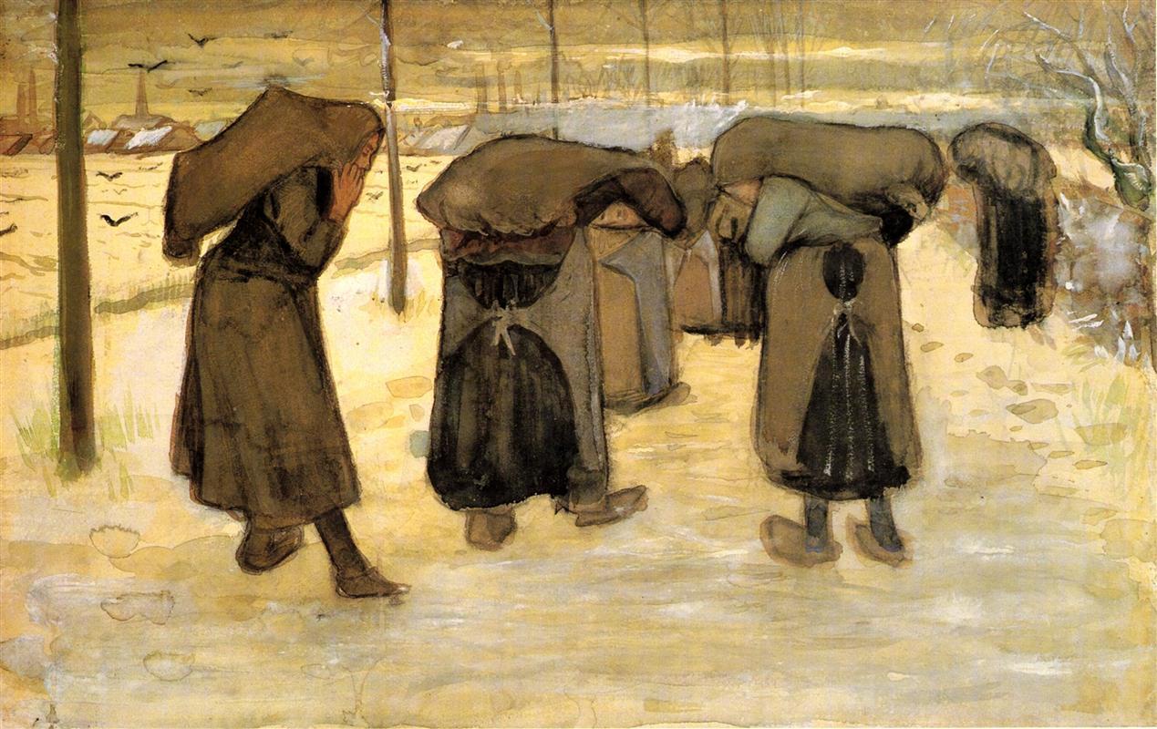 场景人物速写_妇女们在雪中搬运一袋袋的煤_Women Carrying Sacks of Coal in the Snow-文森特·梵高