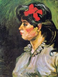 一个戴着红发带的女人的肖像_Portrait of a Woman with a Red Hair Band-文森特·梵高