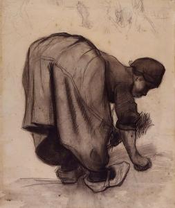 女人弯腰采摘谷物_Woman Bending over Picking Grains-文森特·梵高