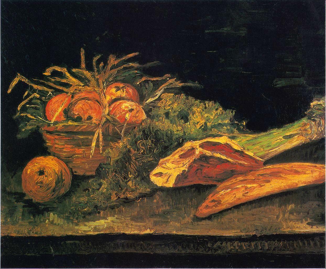 油画静物_有苹果篮、肉和面包卷的静物画_Still Life with Apple Basket, Meat and Bread Rolls-文森特·梵高