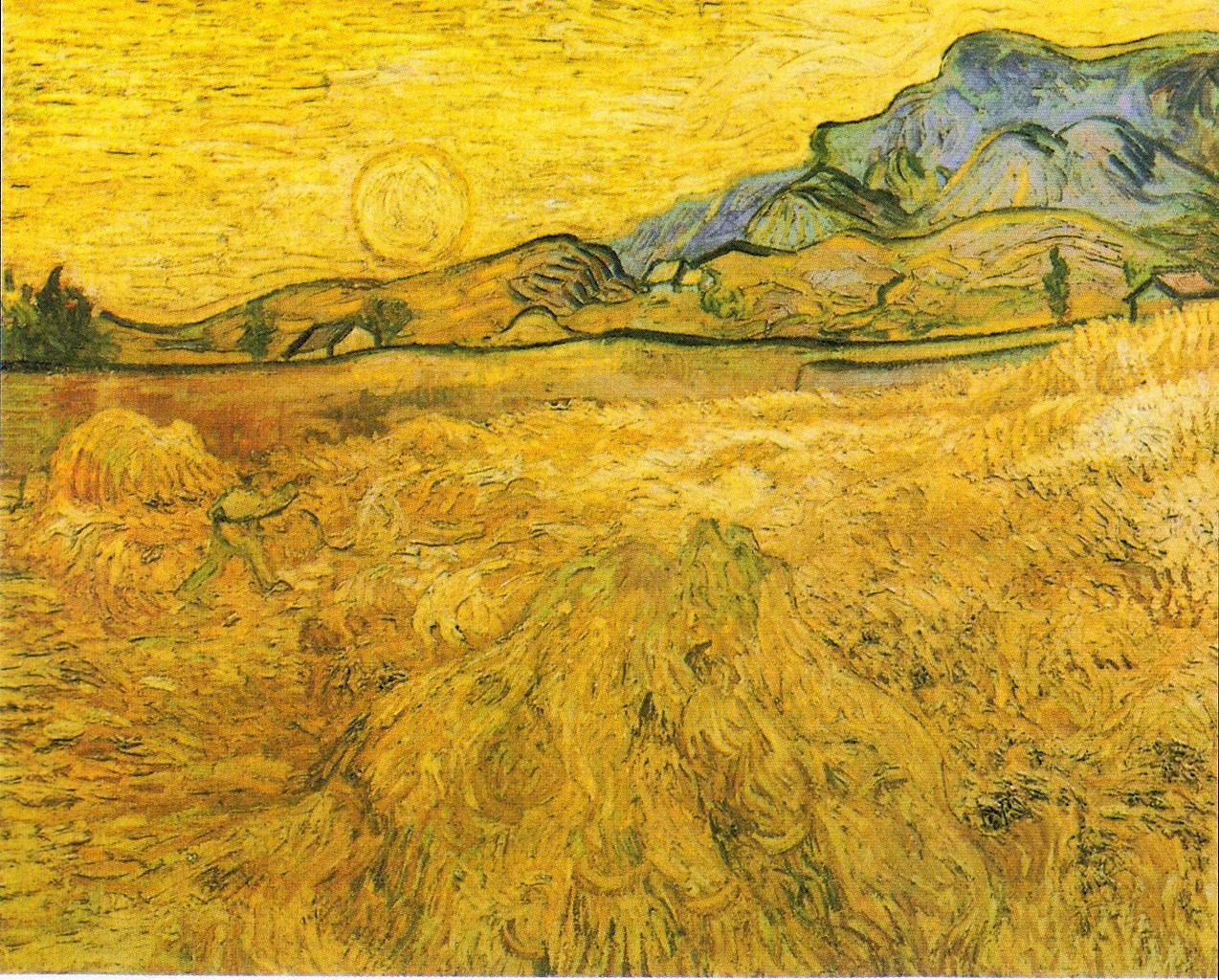"风景油画_麦田里有收割者和阳光(亦称""收割者围地"")_Wheat Field with Reaper and Sun(also known as 'Enclosed Field with Reaper')-文森特·梵高"