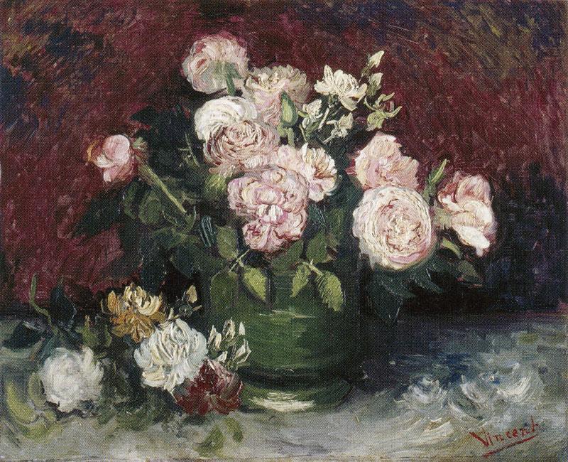 油画静物_插着牡丹和玫瑰的花瓶_Vase with Peonies and Roses-文森特·梵高