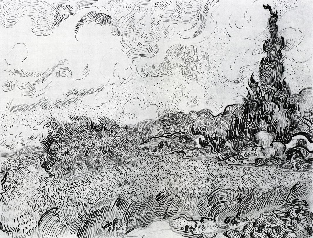 风景速写_在靠近耶加利耶的上迦林有一片麦田,种着柏树_Wheat Field with Cypresses at the Haude Galline near Eygalieres-文森特·梵高