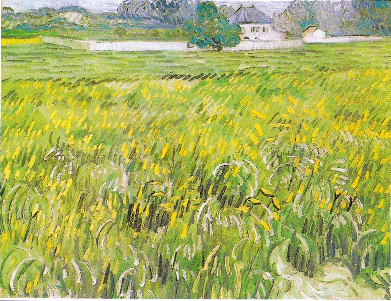 风景油画_奥维尔的麦田和白色房子_Wheat Field at Auvers with a White House-文森特·梵高