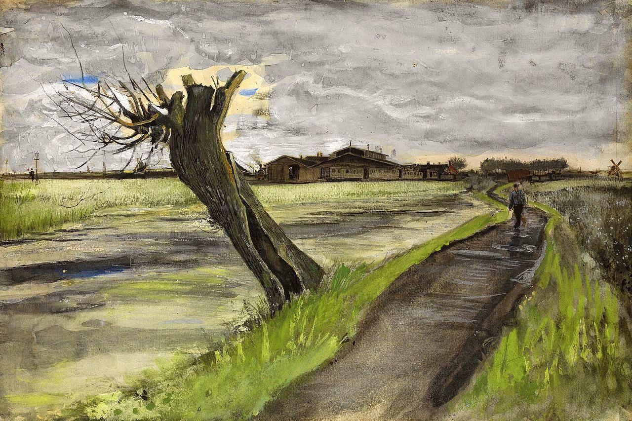 风景速写_截去树梢的柳树_Pollard Willow-文森特·梵高