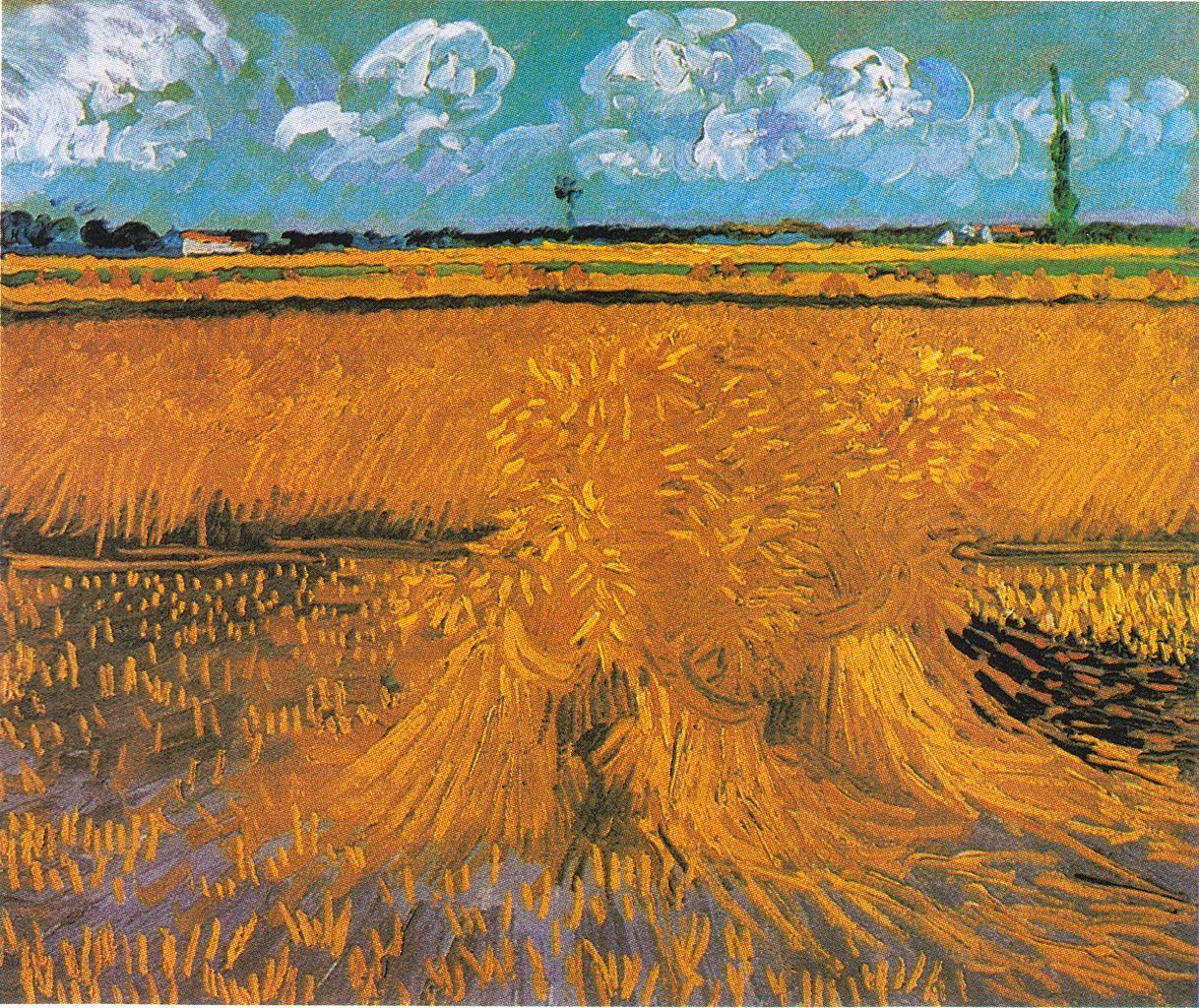 风景油画_麦田与麦束_Wheat Field with Sheaves-文森特·梵高