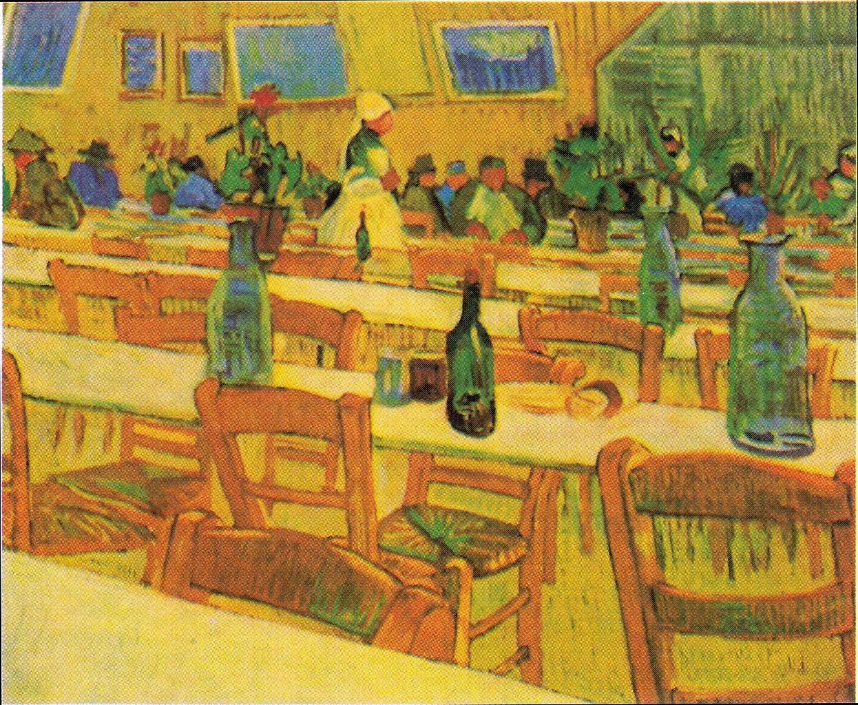 场景人物油画_阿尔勒的卡雷尔餐馆_The Restaurant Carrel in Arles-文森特·梵高