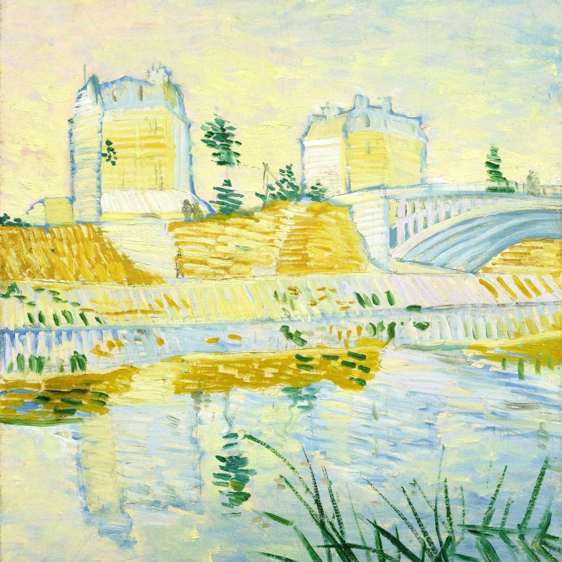 风景油画_塞纳河与克里希桥_The Seine with the Pont de Clichy-文森特·梵高