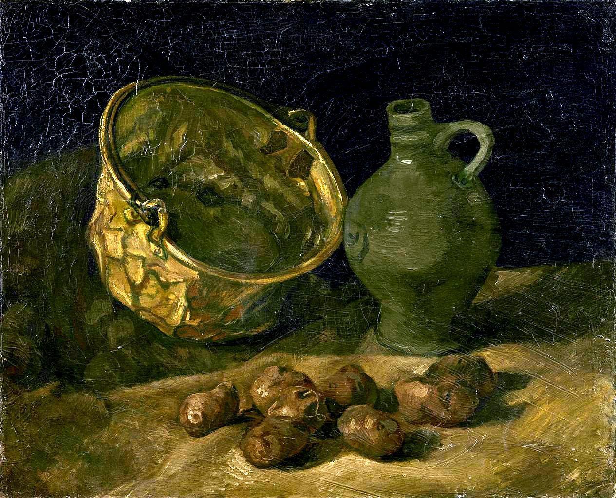 油画静物_有铜锅和壶的静物_Still Life with Brass Cauldron and Jug-文森特·梵高