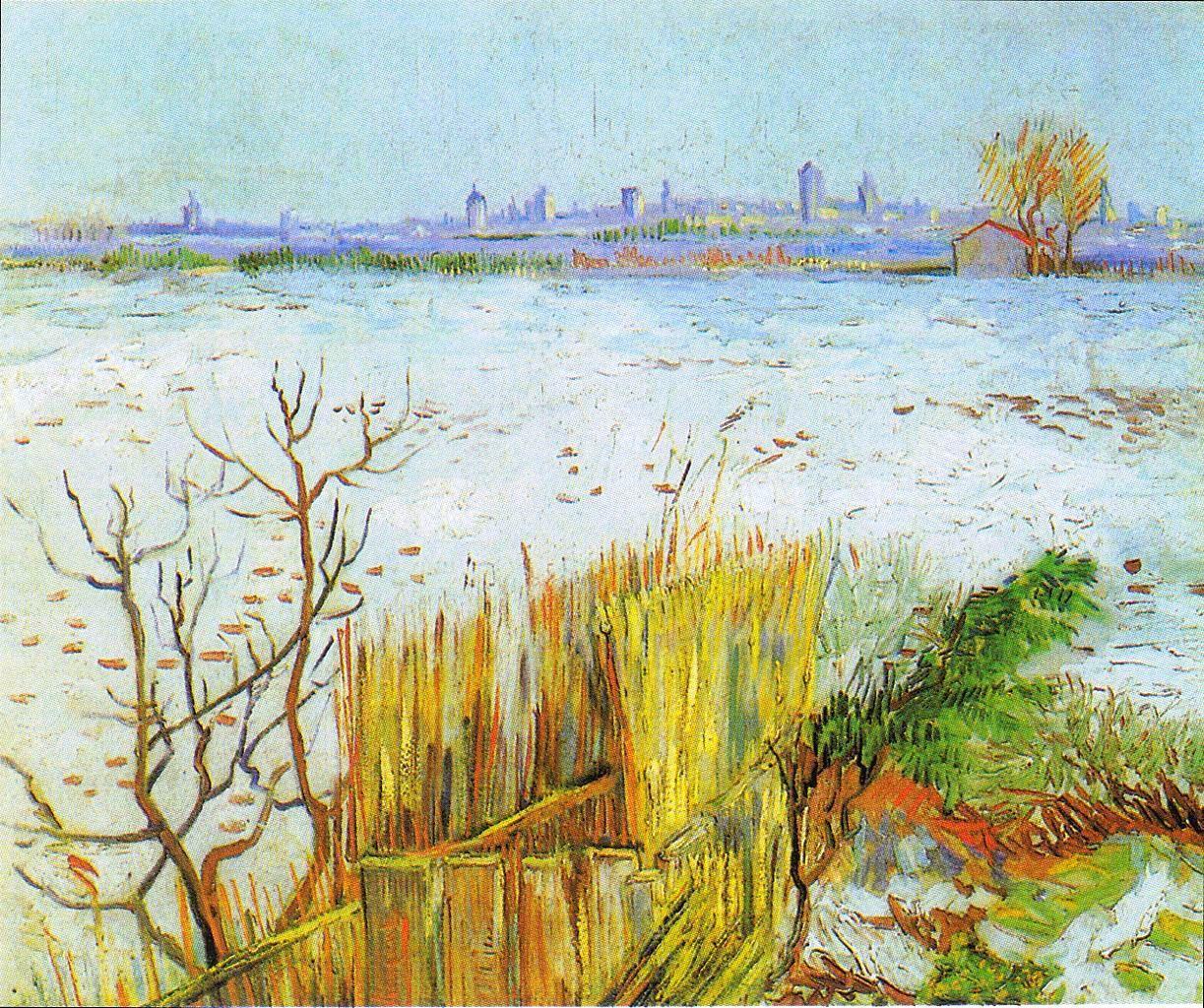 风景油画_以阿尔勒为背景的雪景_Snowy Landscape with Arles in the Background-文森特·梵高