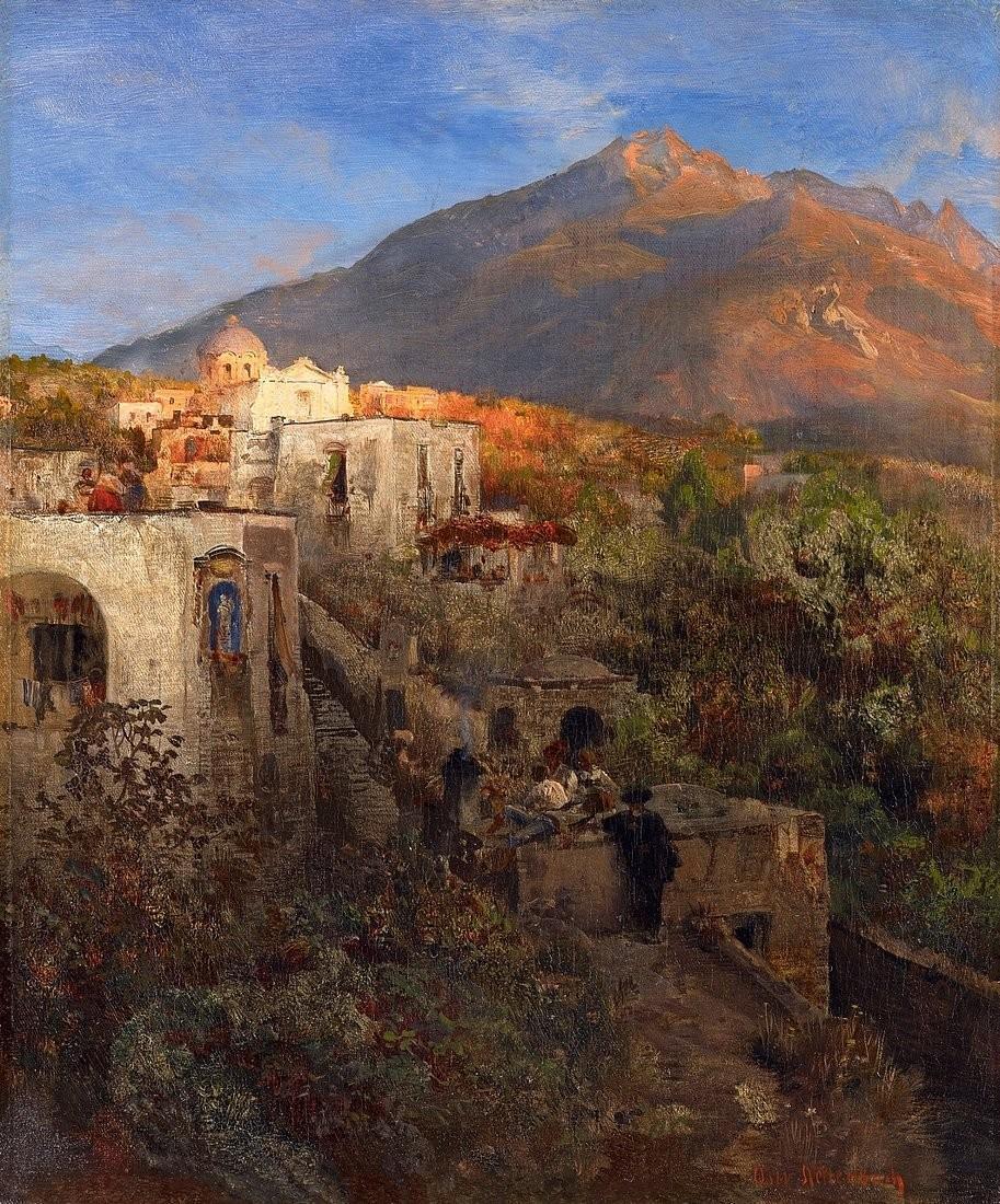 风景人物油画_晚上在伊斯基亚,可以看到埃波美奥山_Evening on Ischia with View on the Mount Epomeo-奥斯瓦尔德·阿肯巴赫