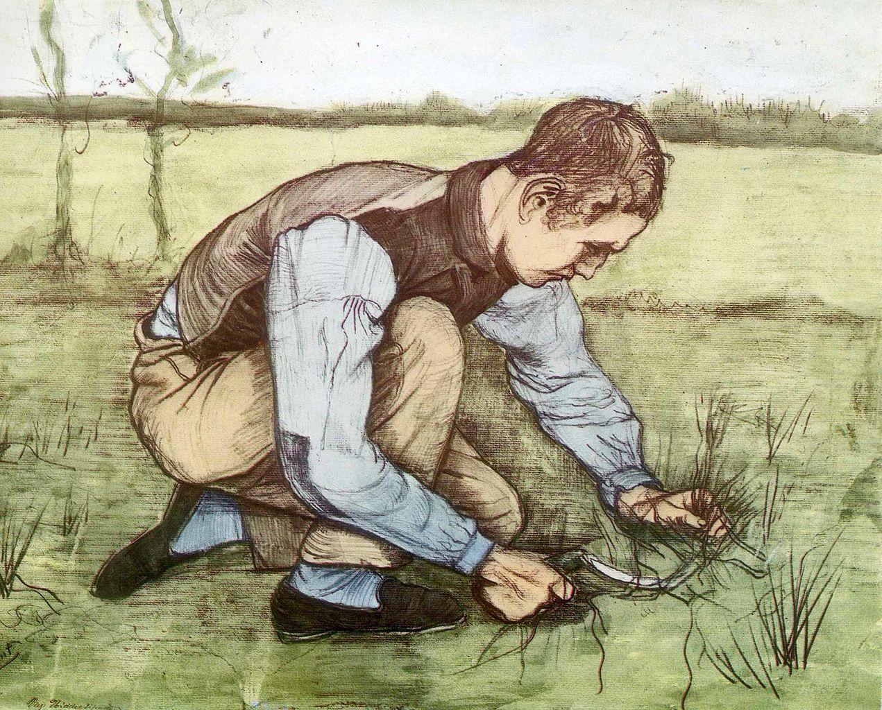 场景人物速写_拿着镰刀的年轻农民_Young Peasant with Sickle-文森特·梵高