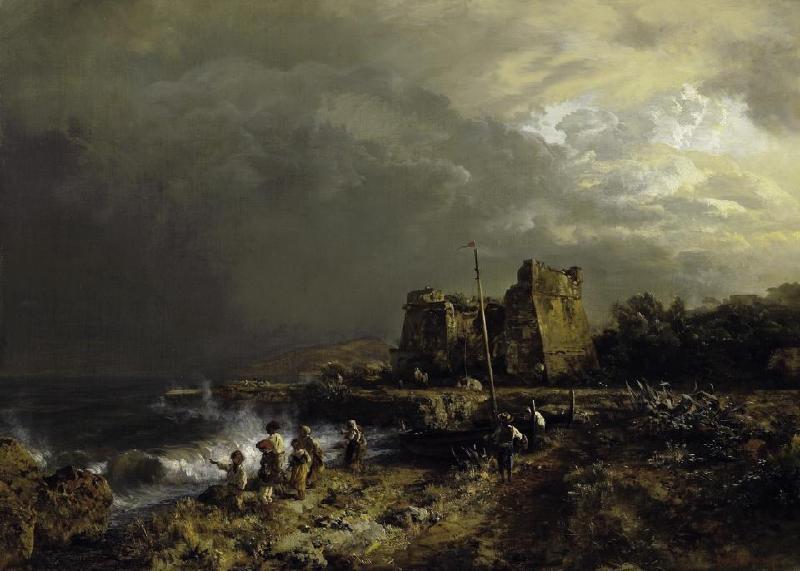 风景人物油画_那不勒斯海湾的波涛汹涌的海, 暴风雨的气氛_Choppy Sea at the Gulf of Naples. Stormy Atmosphere-奥斯瓦尔德·阿肯巴赫