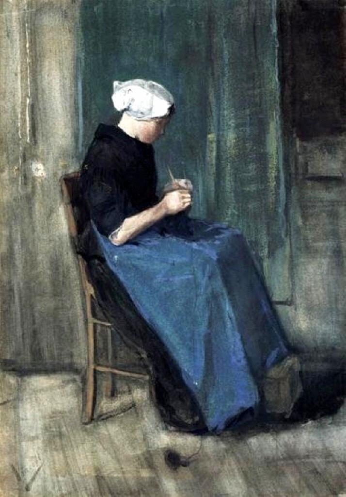 场景人物油画_年轻的舍韦宁根妇女在织毛衣,右侧面_Young Scheveningen Woman Knitting, Facing Right-文森特·梵高