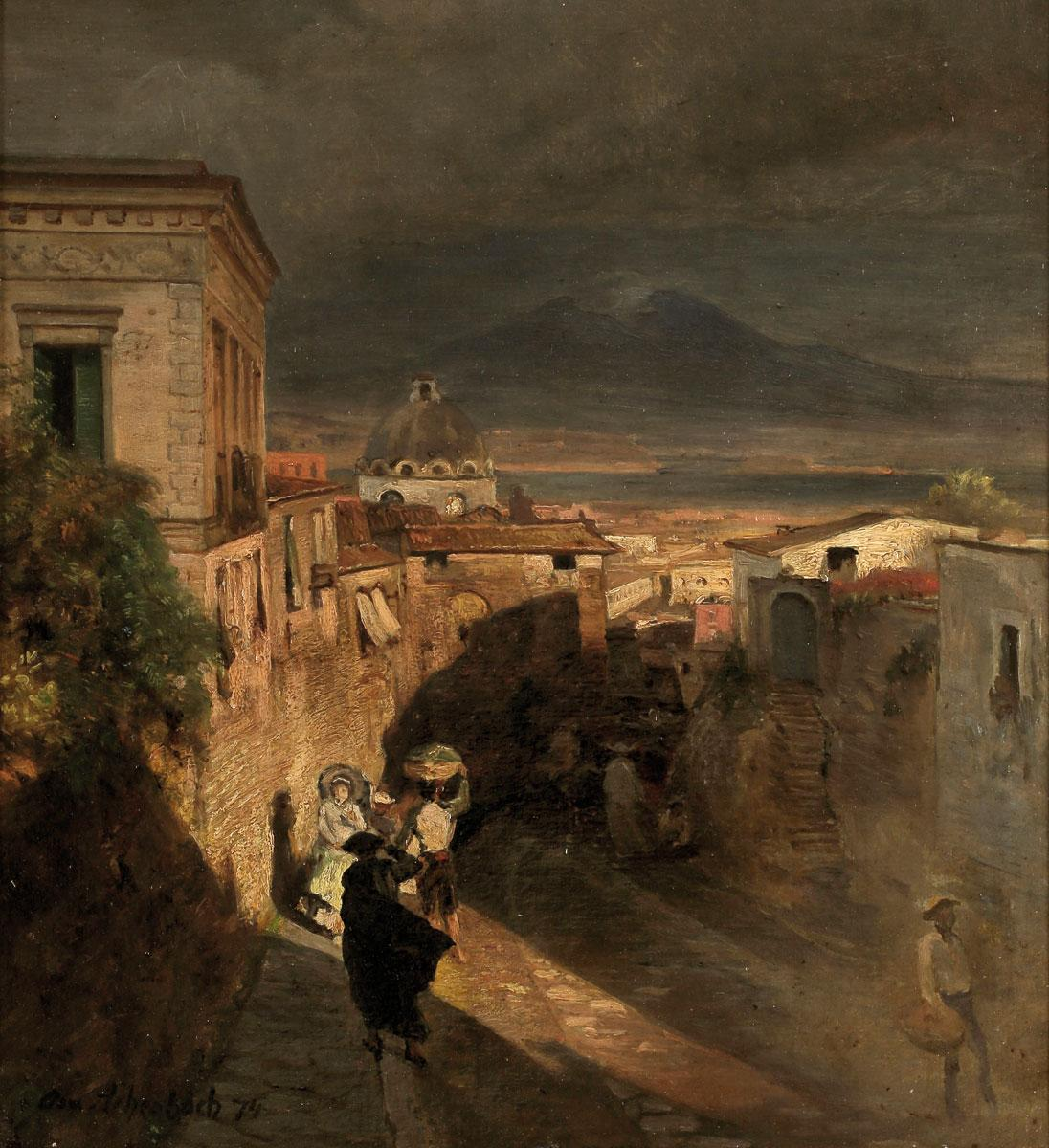 与你的Vesuvius一同看到老城的人你看到那不勒斯的旧路子吗?_Alleyways of the Oldtown in Naples with View on The Vesuvius(also known as Altstadtgasse in Neapel mit Blick auf den Vesuv)-奥斯瓦尔德·阿肯巴赫